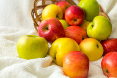 Apples on the tablecloth Royalty Free Stock Photography