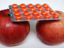 Apples and tablets Royalty Free Stock Photo