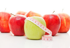 Apples and tape measure Stock Image