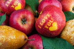 Apples with text royalty free stock photo
