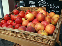 Apples and Tomato for sale Stock Photography