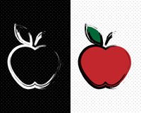 Apples. Two apples in an abstract style with the contours of the strokes on the background of polka dots Royalty Free Stock Photo
