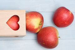 Apples with valentine gift box Royalty Free Stock Image