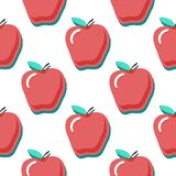 Apples vector seamless pattern. Seamless pattern with red apples on blue background. Fruit background. Apple pattern. Apples vector seamless pattern. Seamless royalty free illustration