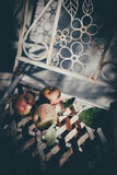 Apples vinatage feeling. Apples, bleached look, autumn feeling, on an old withered metal white chair Stock Photography
