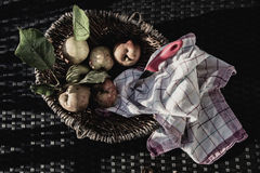 Apples vintage feeling. Apples in a basket, bleached look, autumn feeling, with cheesecloth Stock Image