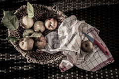 Apples vintage feeling. Apples in a basket, bleached look, autumn feeling, with cheesecloth Stock Photography