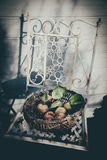 Apples vintage feeling. Apples in a basket, bleached look, autumn feeling, on an old withered metal white chair Royalty Free Stock Image