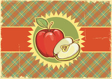 Apples.Vintage label on old paper background textu Stock Photography