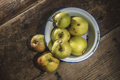 Apples in vintage metal cup Stock Photography