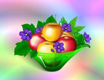 Apples & Violets Royalty Free Stock Images