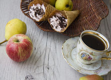 Apples and waffers Royalty Free Stock Images