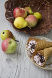 Apples and waffers Stock Photography