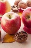 Apples and walnuts. Fresh red apples and walnuts Royalty Free Stock Photo