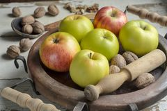 Apples and walnuts Royalty Free Stock Image