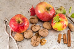 Apples, walnuts and nuts cracker Royalty Free Stock Image