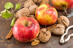 Apples, walnuts and nuts cracker Royalty Free Stock Photos
