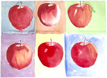 Apples water color painted Stock Photography