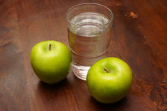 Apples and water Stock Photo