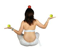 Apples on a well balanced girl Stock Photo