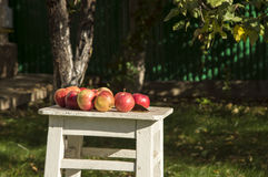 Apples on the white stool. Red apples on the white stool Stock Photo
