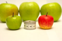 Apples wholesome food. Diet from green apples - a way to a harmonous figure Stock Images