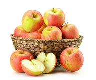 Apples in wicker basket isolated on white stock photos