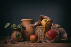 Apples in a wicker basket Royalty Free Stock Image