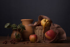 Apples in a wicker basket Stock Photography