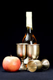 Apples,wine glass and bottle Stock Photo