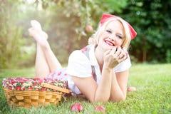 Apples, Woman, Pretty, Fall, Autumn Royalty Free Stock Photos