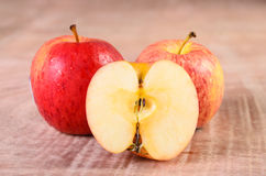 Apples on wood background Royalty Free Stock Photos