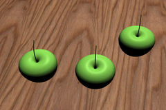 Apples on wood table Royalty Free Stock Images