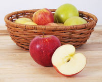 Apples on the wood table Stock Photography