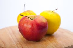 Apples. On wood white background royalty free stock images