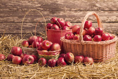 apples on wooden background Royalty Free Stock Photography