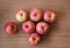 Apples on wooden background. Set of apples on wooden background Royalty Free Stock Photography