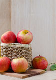 Apples on wooden background Royalty Free Stock Photo