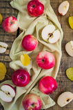 Apples. On a wooden background. Top view Royalty Free Stock Images