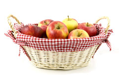 Apples in wooden basket. Isolated on white background royalty free stock photography