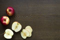 Apples on a wooden board Royalty Free Stock Image