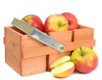 Apples and Wooden Box Stock Photo