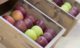 Apples in wooden boxes Royalty Free Stock Photography