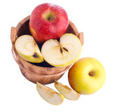 Apples in wooden bucket Stock Images