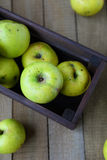 Apples in wooden crate, top view Royalty Free Stock Images