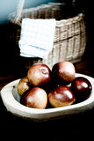 Apples in wooden pan Royalty Free Stock Image