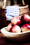 Apples in wooden pan Stock Photography