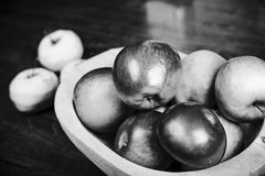 Apples in wooden pan Stock Photo