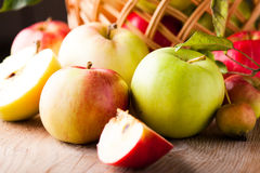 Apples on wooden table Royalty Free Stock Photos