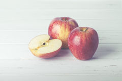 Apples. On a wooden table Stock Photos